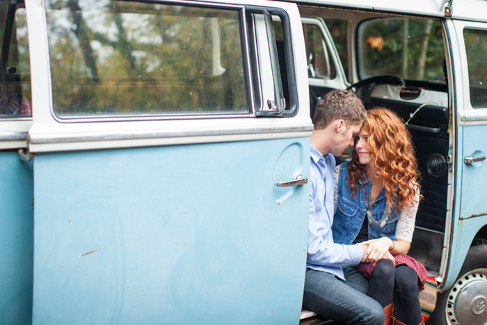 jeremy roloff and audrey botti in blue volkswagon bus