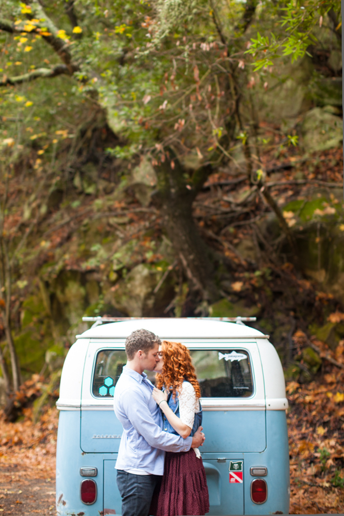jeremy roloff and audrey botti with blue volkswagon bus