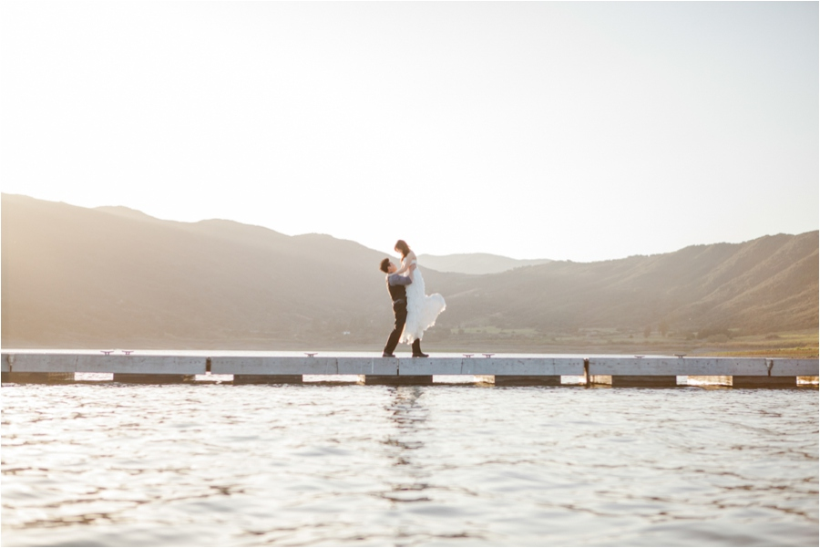 sunset lake wedding photo by San Luis Obispo wedding photographer Skyla Walton