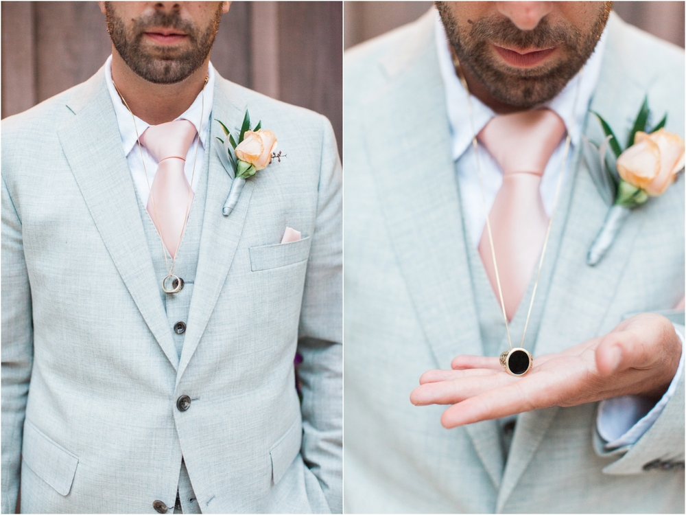 Chris' father passed away suddenly before the wedding, so he wore this ring, an heirloom passed down from his father around his neck throughout the day.