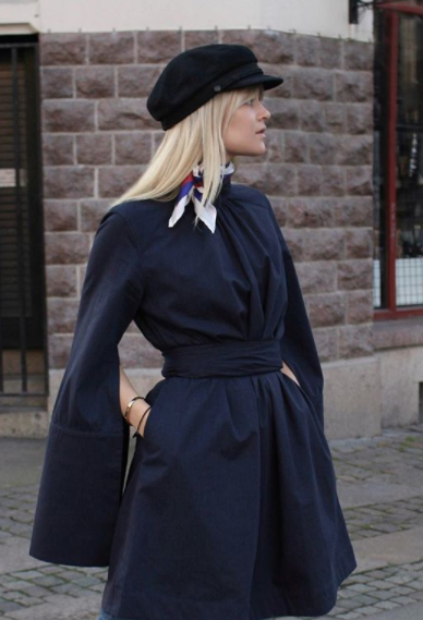 #ASSEENON  - To Norway we goooo! Our Gathered navy dress on Ms. Emmy Nyberg