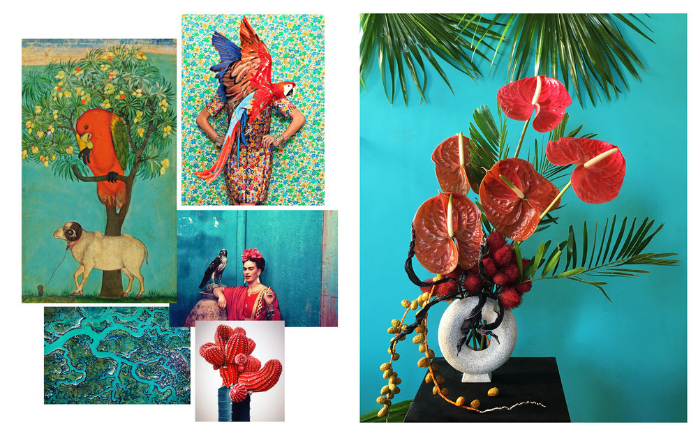 Flowers: Anthurium, Annatto Pods, Dates, Livistonia Palms   Vase by Natalie Weinberger Images from: Jagdish and Kamla Mittal Museum of Indian Art • JUCO Photo • Nickolas Murray • Thorsten Scheuermann • Kwangho Lee *Please contact our studio email should any images be insufficiently credited or not honoring any existing copyrights.