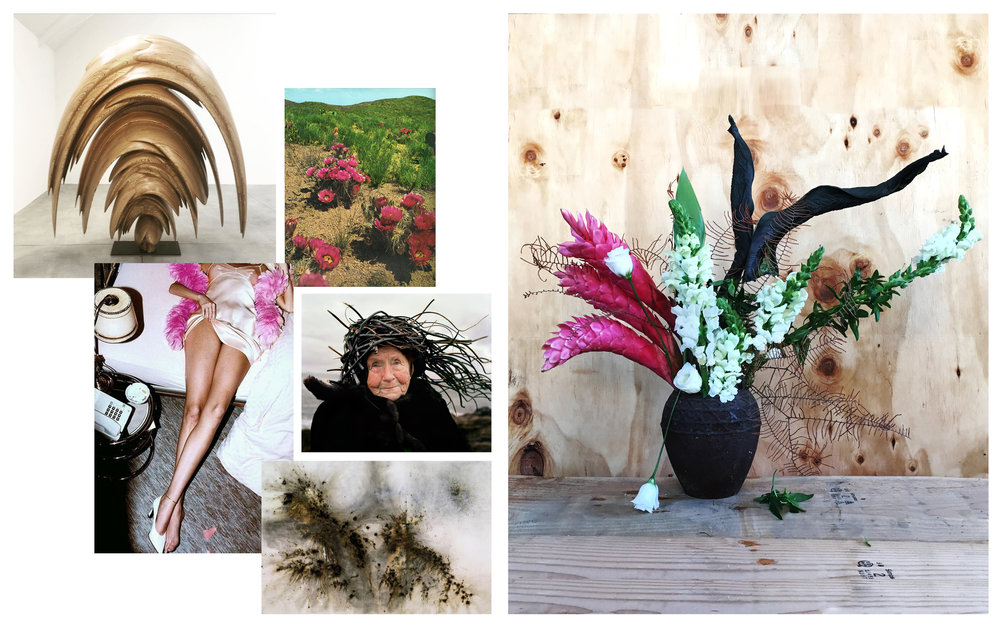Flowers: Ginger, Snapdragon, Lisianthus, Calathea Leaves, Umbrella Fern Images from: Tony Cragg • Tumblr • Helmut Newton • Karoline Hjorth & Riitta Karoline • Cai-Gao Qiang
