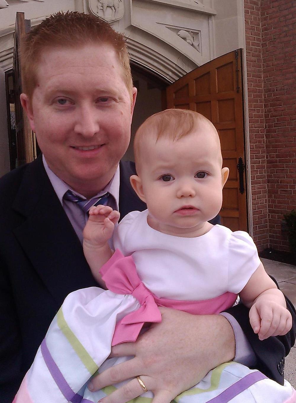 With my daughter, Amelia (then 12 months old), outside the Church of Our Savior (Episcopal), Silver Spring, Maryland, Easter Day, 2013