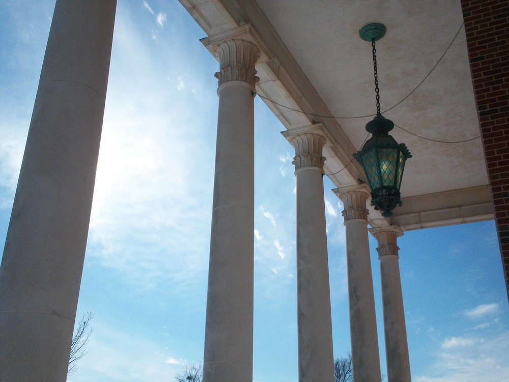 Colonnade of the John Wesley Raley Chapel at Oklahoma Baptist University in Shawnee, Oklahoma