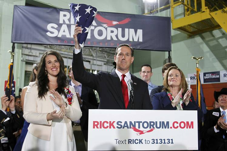 Former U.S. Senator Rick Santorum (R-PA) announcing his candidacy for the 2016 Republican presidential nomination May 27, 2015 in Cabot, PA. Photo: AARON JOSEFCZYK,  REUTERS