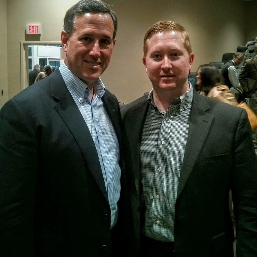 With Republican presidential candidate Rick Santorum at Dordt College in Sioux Center, Iowa