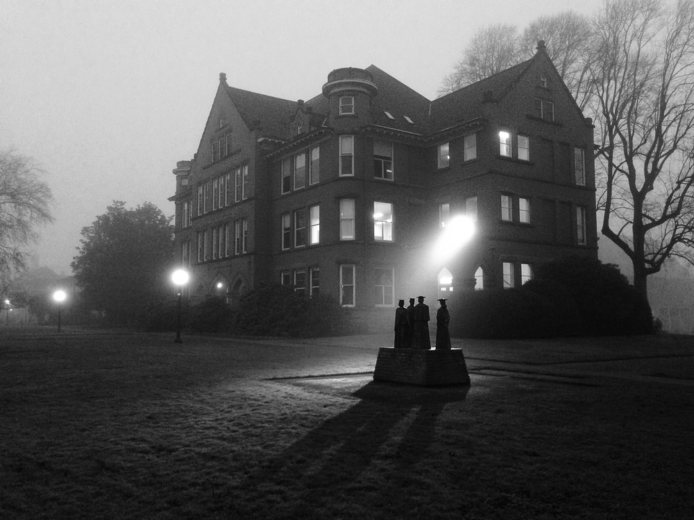 An iPhone photograph of Eaton Hall during the early morning fog in January.