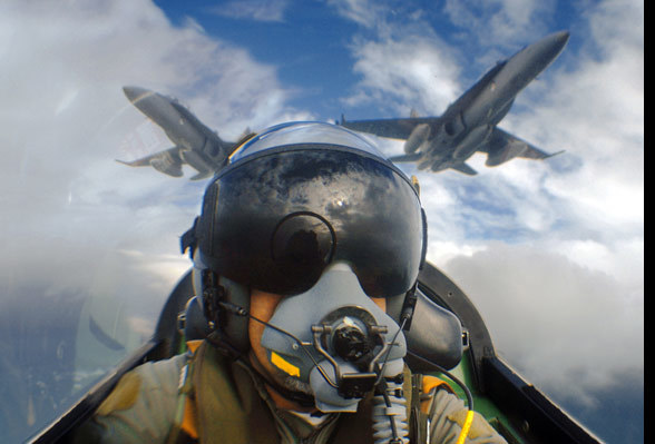 Self portrait by photographer Jon Davison in an RAAF Pilatus PC9