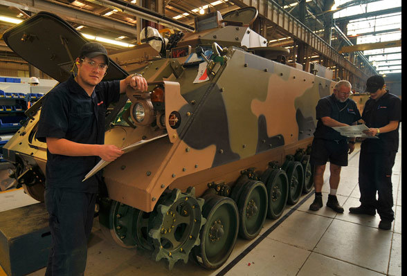 BAE Systems completing checks on the M113 upgrade at BAE's Bandiana facility.