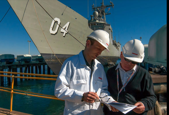 Systems discussing an upgrade to HMAS Darwin at BAE's Henderson facility.