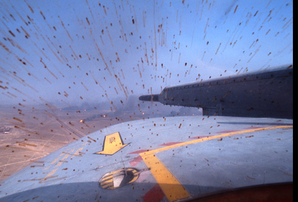 Suspended Oil in the air smearing the cupola, during Operation Desert Storm 1991
