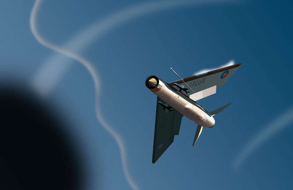 English Electric Lightning fighter in an air-to-air environment