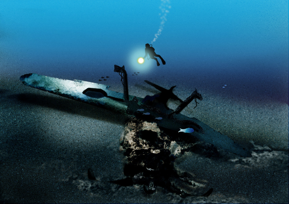 Wrecked WWII BF109 fighter underwater
