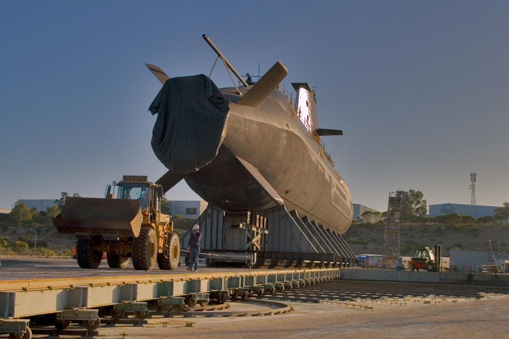 A Collins Class submarine on the hard stand at the BAE Systems Henderson WA facility