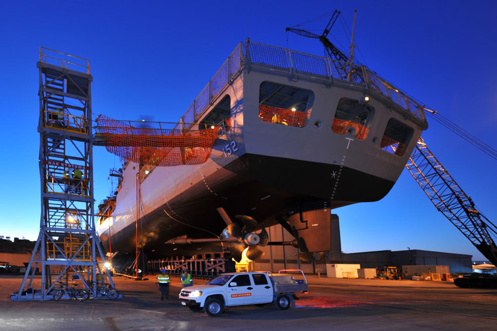 An RAN Frigate on the hard stand at the BAE Systems Henderson WA facility