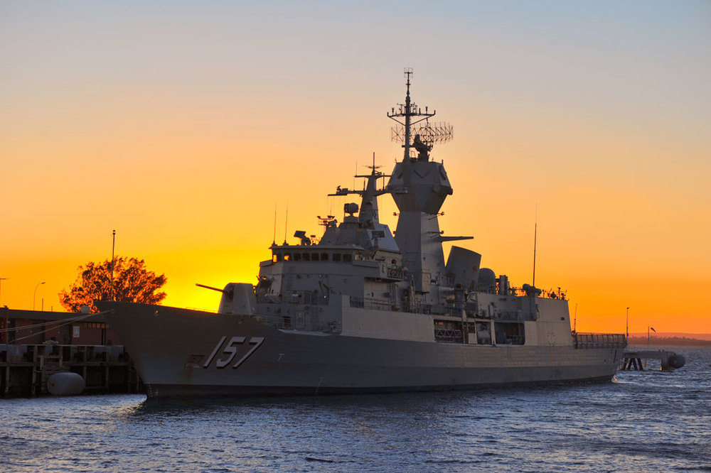 HMAS Perth at sunrise, Fleet Base West