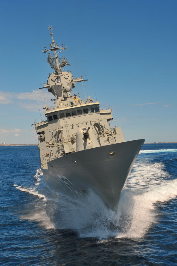 HMAS Perth during seat trails for her new ASMD mast