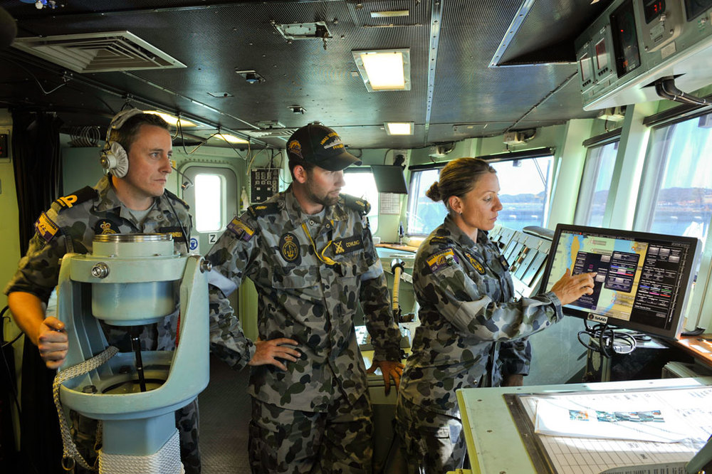 A new SAAB systems console on HMAS Perth
