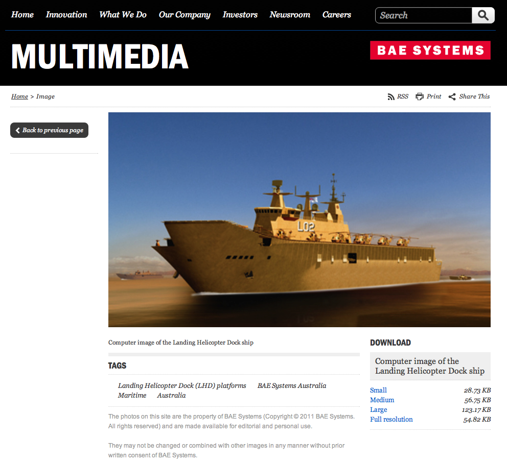 BAE Systems web page