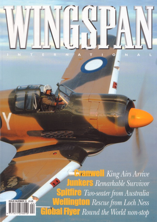 Cover of Wingspan International (#22). CAC Boomerang from Aerotech, Queensland.