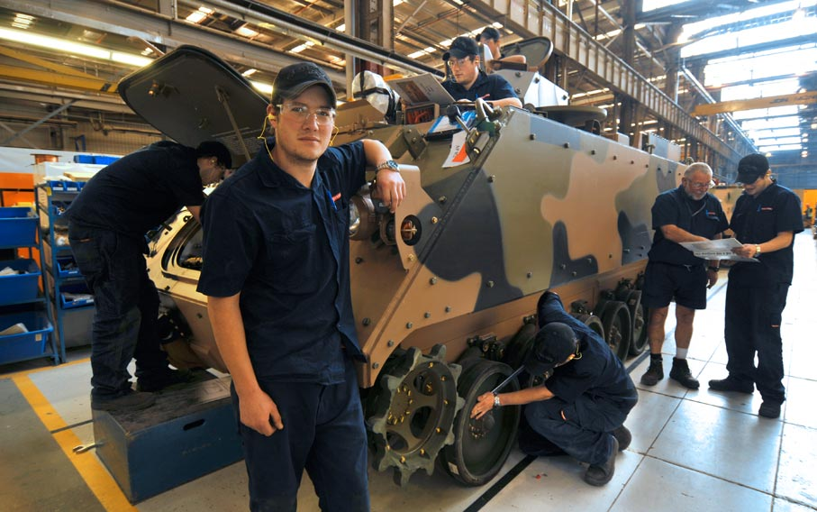 M113 refit production line. Courtesy BAE Systems, Bandiana, Australia