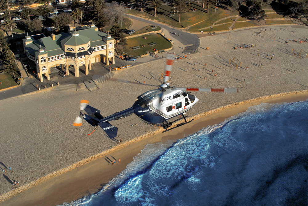 WA Police Air Wing BK117 over Cottesloe and Indiana Cafe