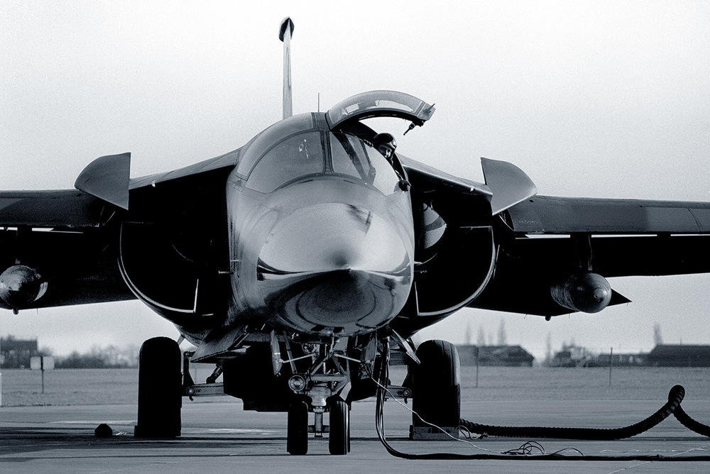An F-111E outside its hangar, RAF Upper Heyford, 1990