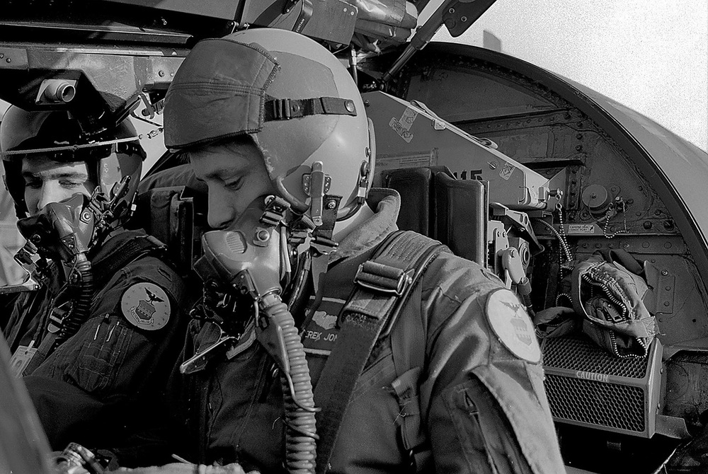 Captains Ken Williams and Derek Jones shut down after a mission in their F-111E at RAF Upper Heyford, 1990