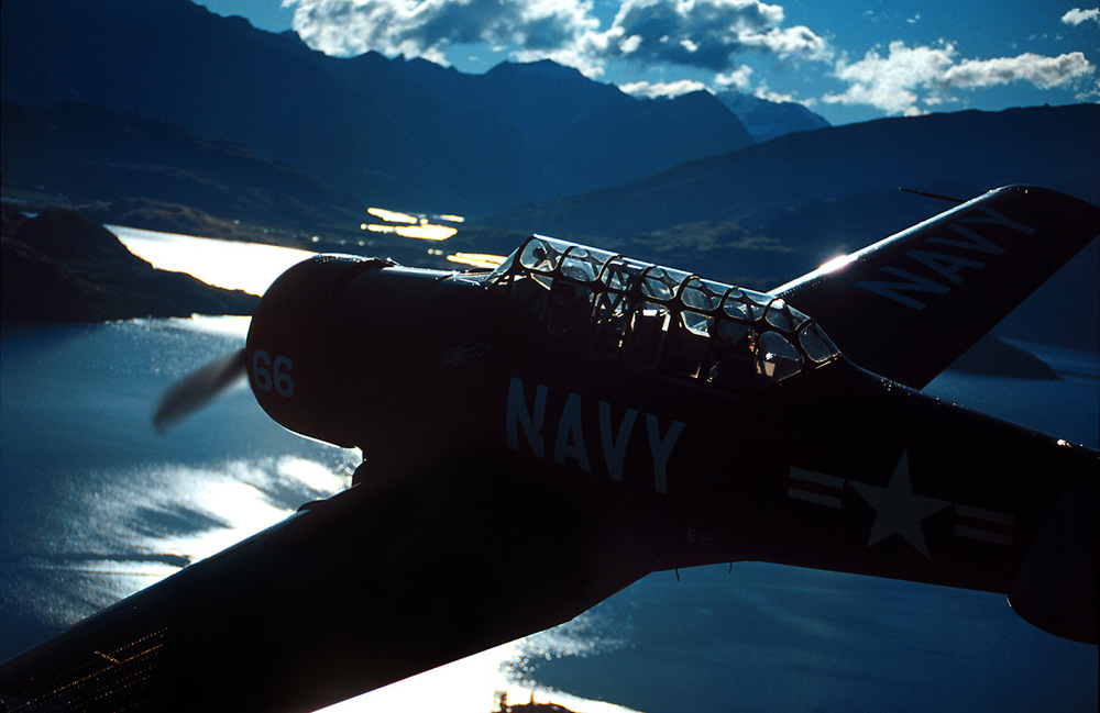 The late Tom Middleton flying his T6 over Lake Wanaka in New Zealand