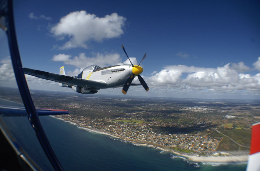 My point of view from the T6 Texan cameraship to the P51