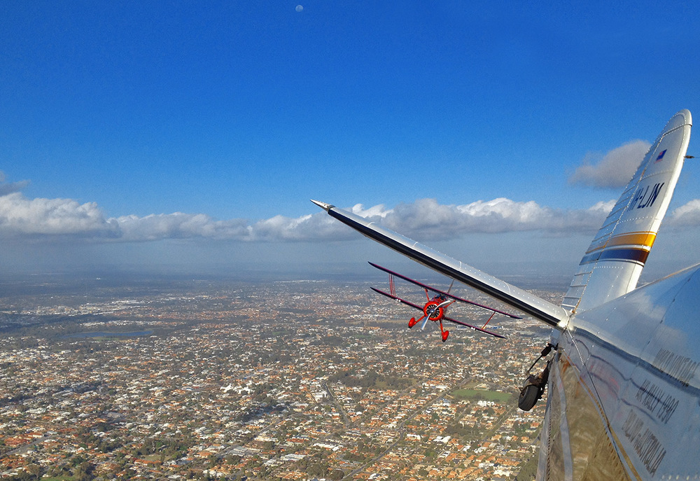 Shooting a Waco over Perth WA, 2014