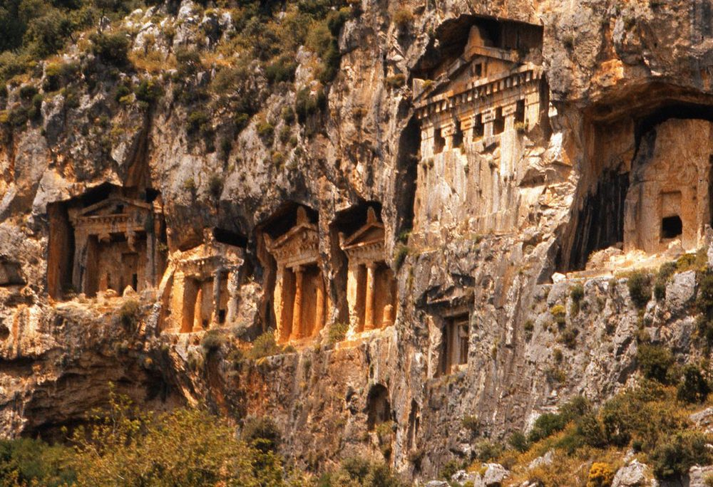 Lycian rock tombs, Dalyan River, Turkey