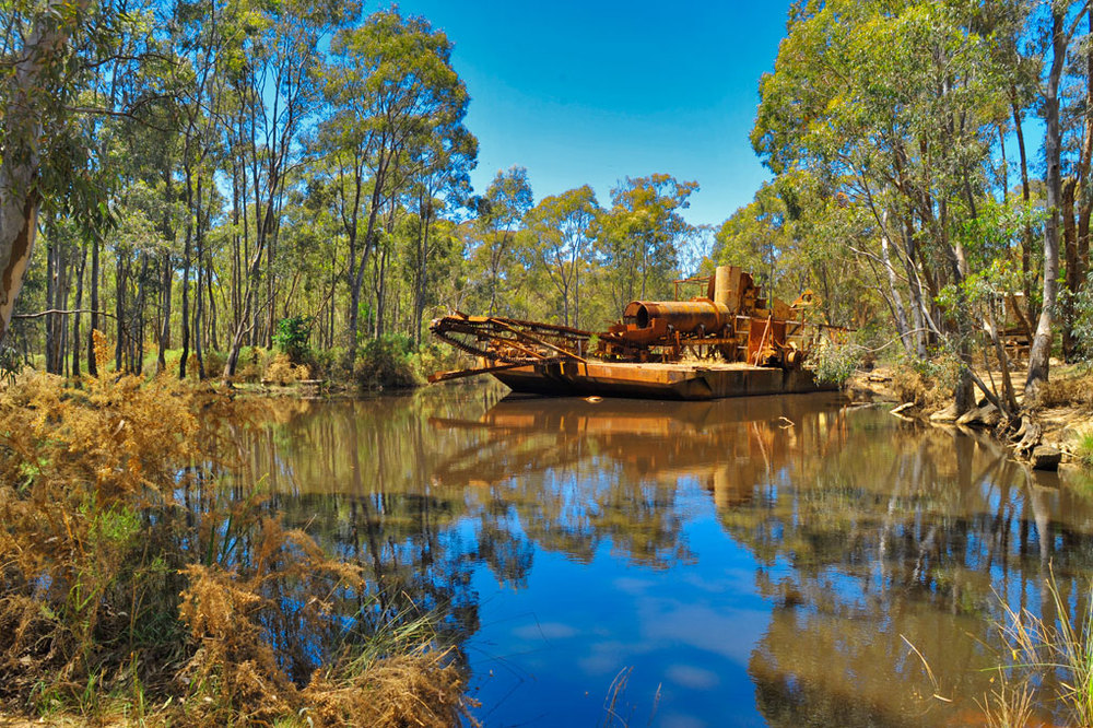 Abandoned mining dredge, Maldon, Victoria, Australia