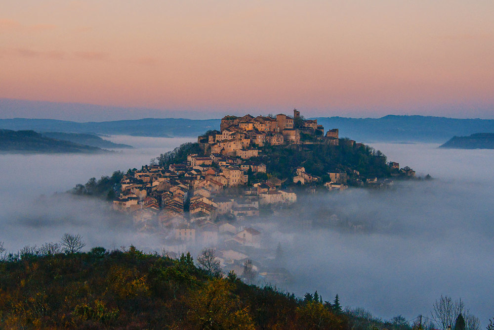 Dawn over Cordes sur Ciel, Tarn region.