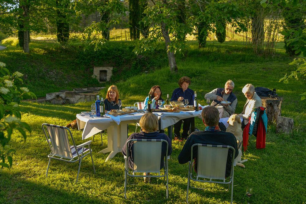 Evening picnic at Chateau de Saurs