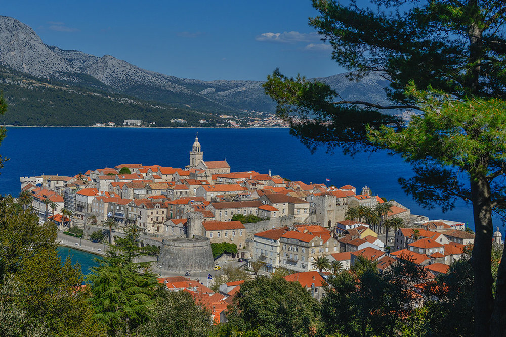 Korcula island and town, with Orebic in the background