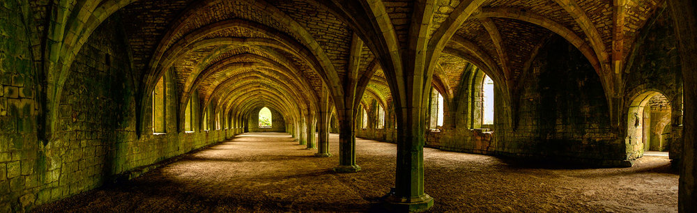 The ruined Cellarium, Fountains Abbey, Yorkshire.