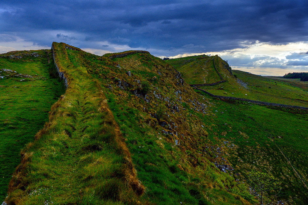 Hadrian's Wall, near Housesteads Roman fort, Yorkshire.