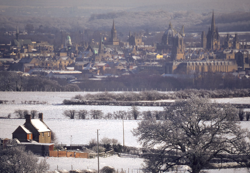 Oxford in winter from Boars Hill.