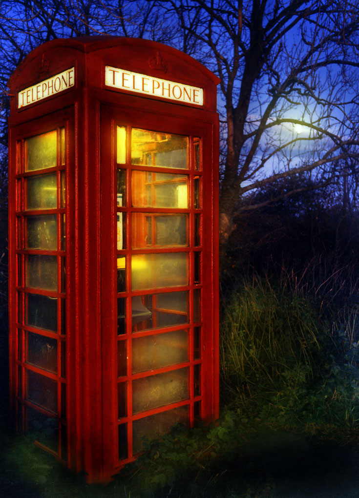 Ubiquitos red telephone box.