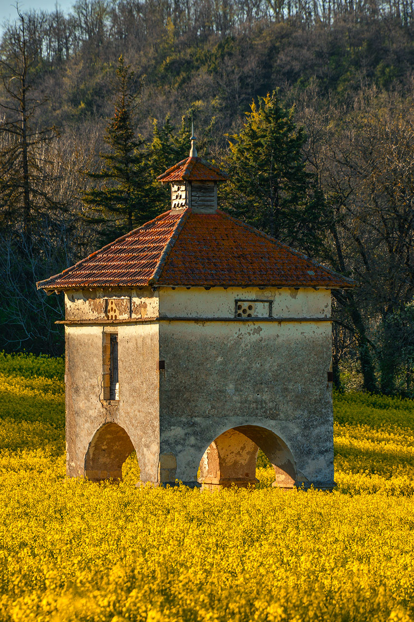Freestanding pigeonnier at Chateau Cazelles, near Cordes