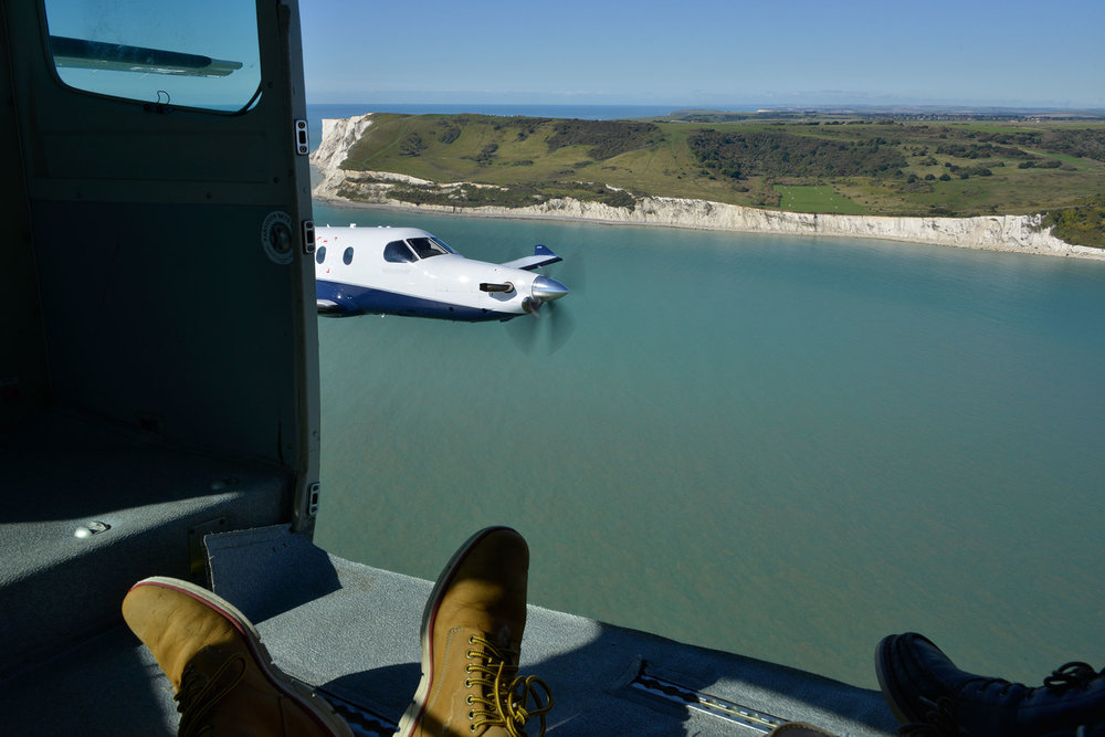 Shooting a PC12 from Oriens Aviation over Beachy Head, UK