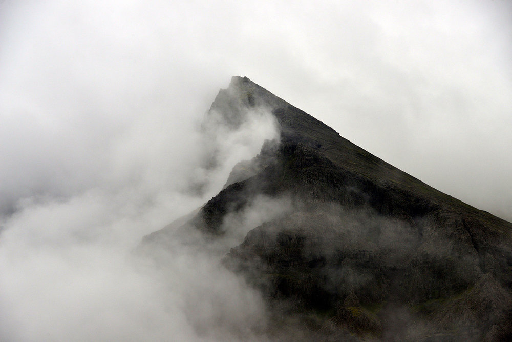 Mist covered volcanic cone, Iceland