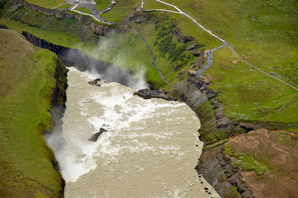 Aerial perspective of Gullfoss waterfall