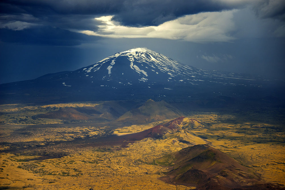 Mt Hekla under a stormy cloudscape