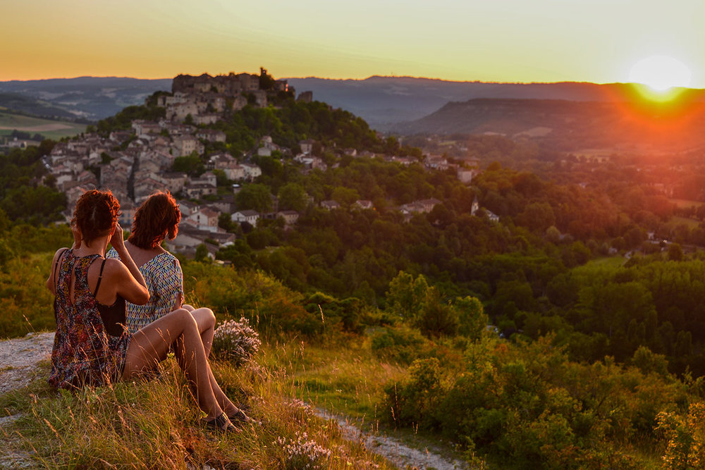Summer sunset over Cordes from Le Grain de Sel