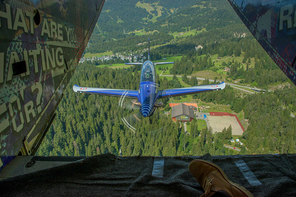 My view of my subject, a Pilatus PC21 over Switzerland, taken from the rear of a Shorts Skyvan from Pink Aviation