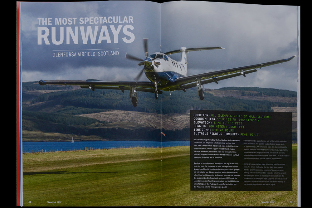 Page spread from Pilatus Post. Glenforsa airfield, Scotland.