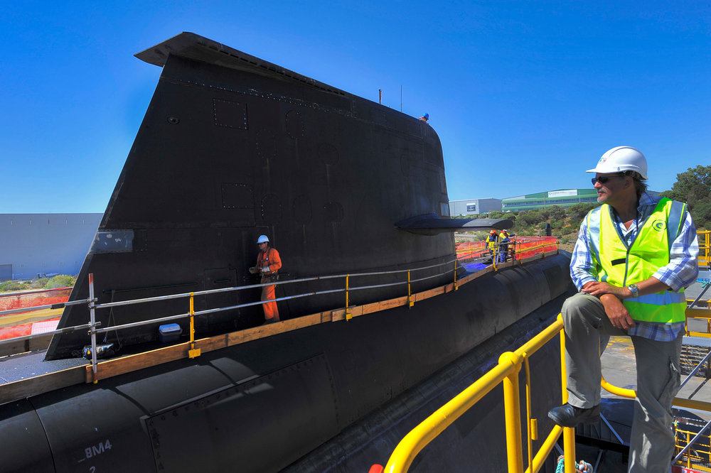 Collins class submarine HMAS Rankin on the Henderson slipway, Western Australia.